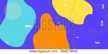 Multicolor Memphis Cover. Trendy Abstract Wallpaper. Futuristic Liquid Backdrop. Yellow Cool Backdro