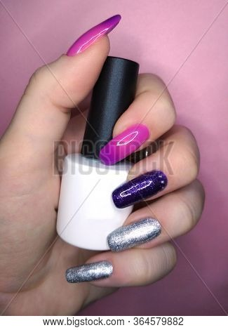 Woman Hand Finger Pink Violet Purple Silver Metallic Manicure Gel Nail Polish Swatch Design White Bo