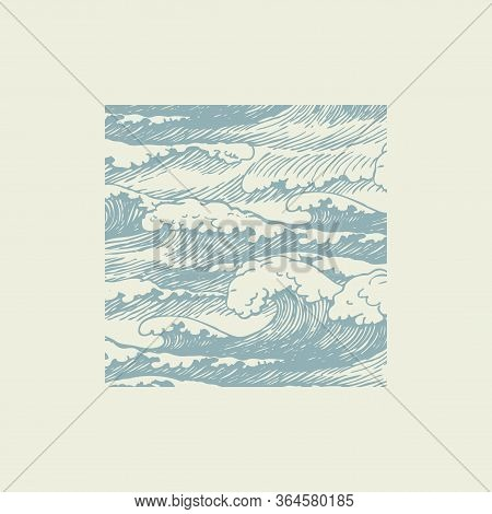 Vector Banner With Hand-drawn Waves In Retro Style. Decorative Illustration Of The Sea Or Ocean, Sto