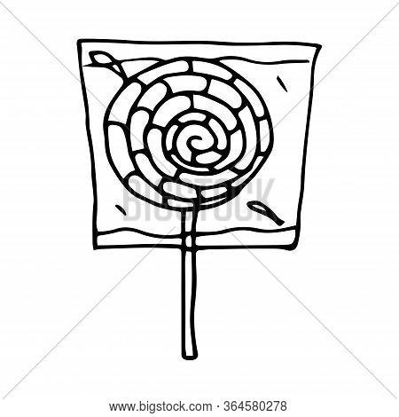 Hand Drawn Vector Doodle Cartoon Sketch Lollipop On Stick For Design Illustration. Round, Striped, B