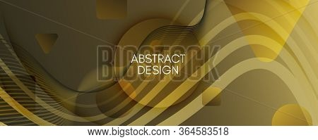 Abstract Vector Curve. Yellow Gradient Landing Page. 3d Fluid Shapes. Creative Brochure. Gold Abstra