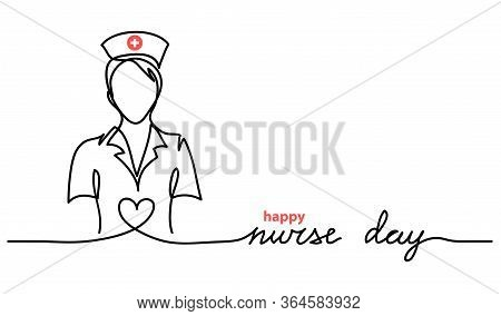 Happy Nurse Day Simple Vector Web Banner, Background. Nurse Day Lettering. One Continuous Line Drawi