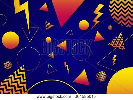 A Blue Orange And Yellow Retro Vaporwave 90's Style Random Geometric Shapes With Vibrant Neon Color