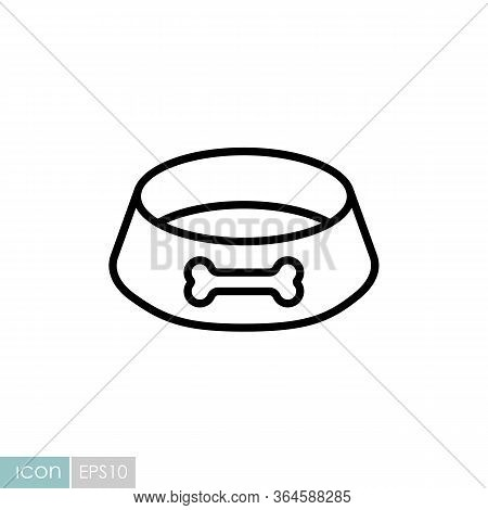 Pet Dog Bowl Vector Icon. Pet Animal Sign. Graph Symbol For Pet And Veterinary Web Site And Apps Des