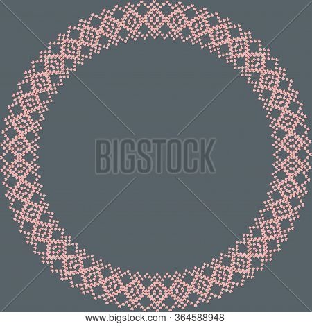 Norwegian Traditional Ornament. Round Frame With Geometric Ornament. Knitting Pattern. Vector.