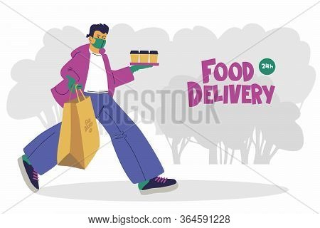 Food Delivery. A Young Man, A Courier Or A Volunteer In A Medical Mask And Medical Gloves Delivers F