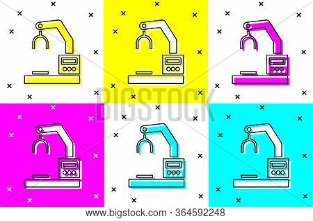 Set Industrial Machine Robotic Robot Arm Hand Factory Icon Isolated On Color Background. Industrial