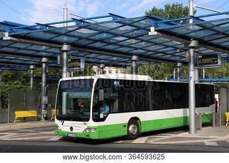 Chemnitz, Germany - May 9, 2018: Bus Station (omnibusbahnhof) In Chemnitz, Germany. Chemnitz Is The