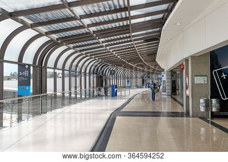 MEDELLIN, COLOMBIA - APRIL 23, 2019: Interior of the the terminal building at Jose Maria Cordova International Airport, in Medellin, Antoioquia, Colombia