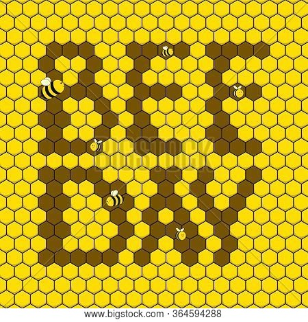 Bee Day. Nectar Background. Flying Bee. Bee Day Typography On Nectar. Vector Illustration.