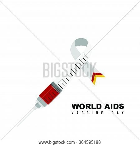 Syringe Ribbon. World Aids Vaccine Day. Syringe With Ribbon Design. Vaccine On Syringe. Vector Illus