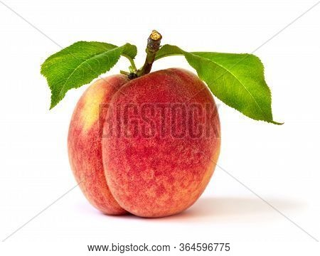 Appetizing Ripe Whole Peach Freshly Picked With Green Leaves, Studio Isolated On White