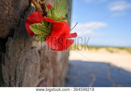 Dunkirk, France - August 13, 2019: Close Up Of Poppies On The Operation Dynamo Memorial To Allied Fo
