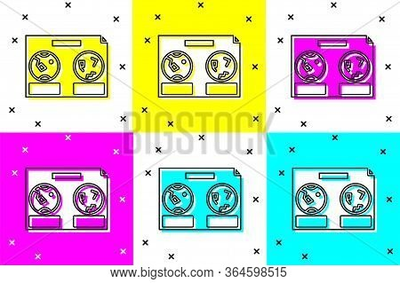Set Celestial Map Of The Night Sky Icon Isolated On Color Background. Starry Hemisphere. Planisphere