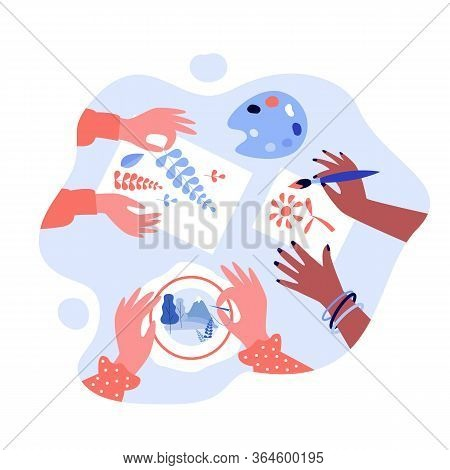 Diverse Kids Creating Craftworks. Hands Of Children Painting, Scrapbooking, Embroidering. Vector Ill