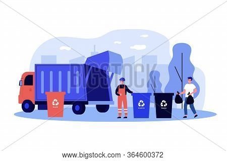 Trash Collection Transport. Man Throwing Trash Into Bins With Recycling Sign. Vector Illustration Fo
