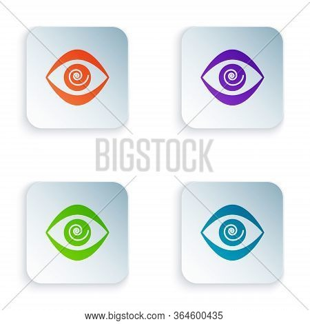 Color Hypnosis Icon Isolated On White Background. Human Eye With Spiral Hypnotic Iris. Set Colorful