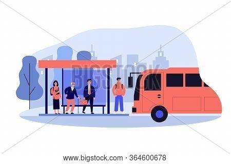 Passengers Standing At Bus Stop. Businessman, Senior Man, Student Waiting Vehicle. Vector Illustrati