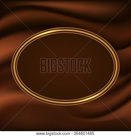 Golden Glowing Frame Border On Chocolate Wavy Flowing Background. Design For Logo Or Poster. Vector