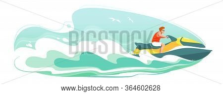 Jetski Landscape Cover Design. Man Ride Hydro Cycle In Sea Vector Poster. Water Sport Isolated Backg