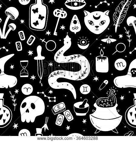 Mystical, Magical Seamless Pattern. Hand-drawn Vector Background With Witchcraft Symbols.