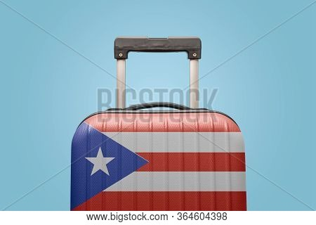 Suitcase With Puerto Rican Flag Design Travel South America Concept.