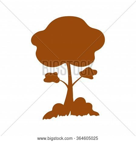 Beautiful Brown Silhouette Tree With Spreading Branches, Bushes And Grass On A White Background. Nat