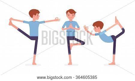 Yogi Man In Sport Wear Practicing Yoga, Utthita Hasta Padangustasana, Extended Hand To Big Toe Exerc