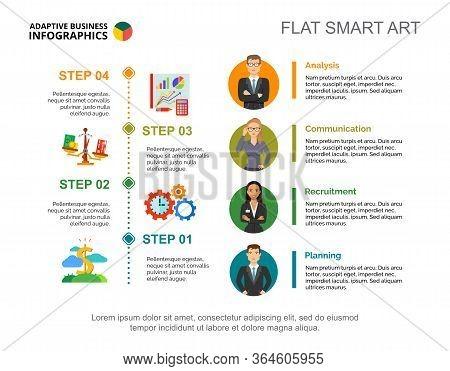 Four Steps Process Chart Slide Template. Business Data. Stuff, Diagram, Design. Creative Concept For
