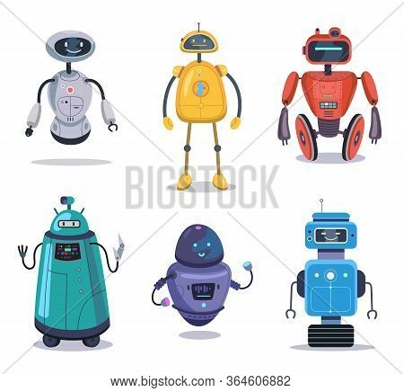 Humanoid Robotic Machine Set. Colorful Robot Characters, Cyborg, Electronic Toy. Vector Illustration