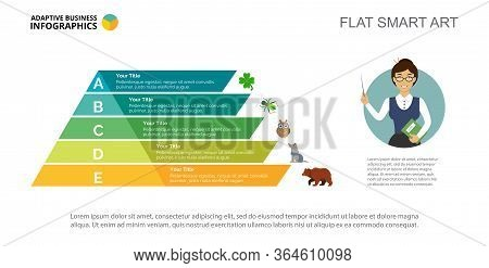 Five Options Process Chart Slide Template. Business Data. Point, Step, Design. Creative Concept For