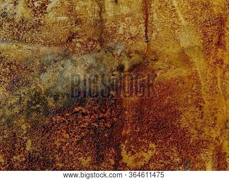 Natural Background From An Old Abandoned Sea Building. Background With Natural Rust Mold Streaks Of