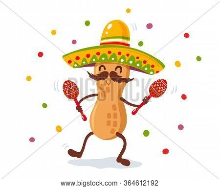 Vector Poster For Cinco De Mayo With Peanut With Mexican Sombrero And Maracas. Cinco De Mayo Festiva