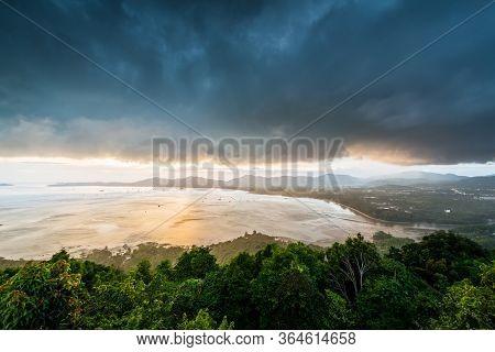 Landscape At Kao Khad Viewpoint Of Phuket City At Sunset Time Under Rainstorm, Phuket Province, Thai