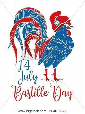 Gallic Rooster In Phrygian Cap. Bastille Day Design Template. Hand Drawn Vector Sketch Illustration