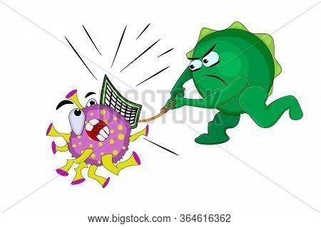 Immunity Fights The Virus Isolated On White Background. Coronavirus. Health Care Concept. Funny Cart
