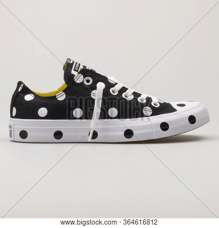 Vienna, Austria - February 19, 2018: Converse Chuck Taylor All Star Ox Black And White Sneaker On Wh
