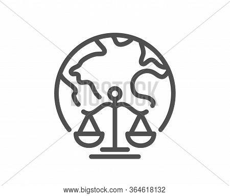 Magistrates Court Line Icon. Justice Scales Sign. Internet Law Symbol. Quality Design Element. Edita