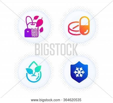 Organic Product, Mint Bag And Medical Drugs Icons Simple Set. Button With Halftone Dots. Clean Skin