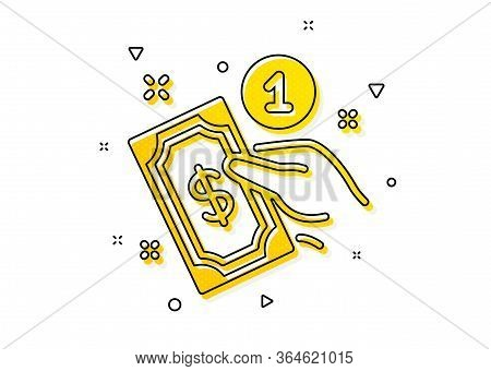 Give Cash Money Sign. Payment Method Icon. Yellow Circles Pattern. Classic Payment Method Icon. Geom