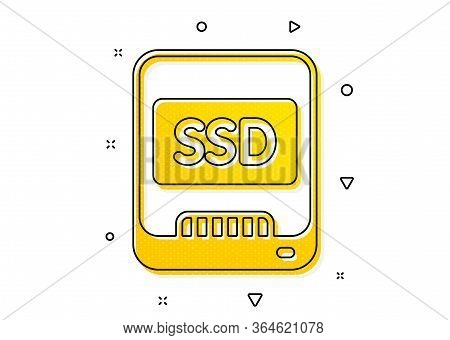 Computer Memory Component Sign. Ssd Icon. Data Storage Symbol. Yellow Circles Pattern. Classic Ssd I