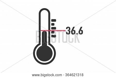 Flat Thermometer On A White Background. Measurement Of Body Heat. Vector Stock Image. Doctors Tool I