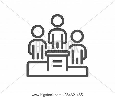 Business Podium Line Icon. Employee Nomination Sign. Teamwork Award Symbol. Quality Design Element.