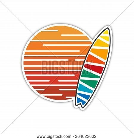 Surfing Company Label Logo Made In Modern Clean And Bright Design. Surf And Sun Tshirt Print. Vector