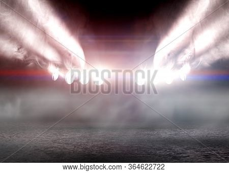 Stage Lights And Fog Or Misty In The Dark..musical Background.set Of Lights. Concept Of Live Music A