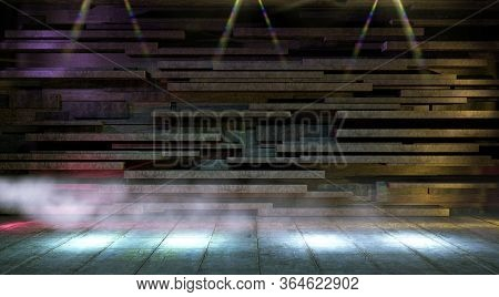 Empty Floor Background.blank Modern Architecture.dark Room And Cement Floor.tile Wall And Spotlights