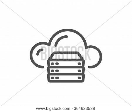 Cloud Computing Server Line Icon. Internet Data Storage Sign. File Hosting Technology Symbol. Qualit