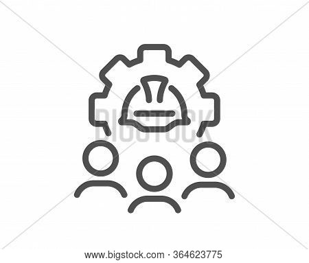 Engineering Team Line Icon. Engineer Or Architect Group Sign. Construction Helmet Symbol. Quality De
