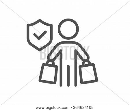 Buyer Insurance Hand Line Icon. Risk Coverage Sign. Shopping Protection Symbol. Quality Design Eleme