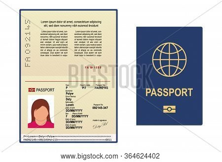 Vector Passport Template. Open Page Of Visa Document With Personal Photo. International Passport Ico